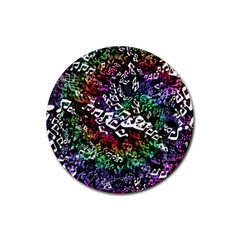 Urock Musicians Twisted Rainbow Notes  Drink Coaster (Round)