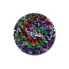 Urock Musicians Twisted Rainbow Notes  Magnet 3  (Round)