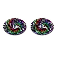 Urock Musicians Twisted Rainbow Notes  Cufflinks (Oval)