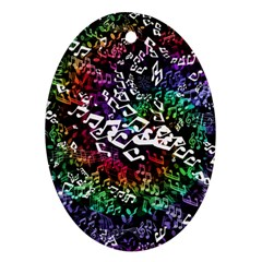 Urock Musicians Twisted Rainbow Notes  Oval Ornament (Two Sides)