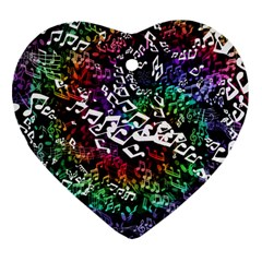 Urock Musicians Twisted Rainbow Notes  Heart Ornament (Two Sides)