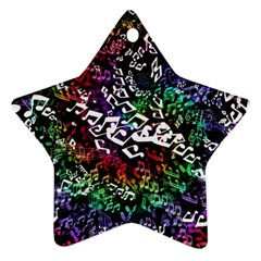Urock Musicians Twisted Rainbow Notes  Star Ornament (Two Sides)
