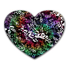 Urock Musicians Twisted Rainbow Notes  Mouse Pad (Heart)