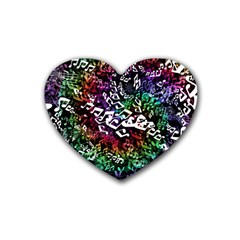 Urock Musicians Twisted Rainbow Notes  Drink Coasters 4 Pack (Heart)