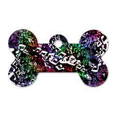 Urock Musicians Twisted Rainbow Notes  Dog Tag Bone (One Sided)