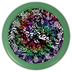 Urock Musicians Twisted Rainbow Notes  Wall Clock (Color)