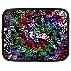 Urock Musicians Twisted Rainbow Notes  Netbook Sleeve (Large)
