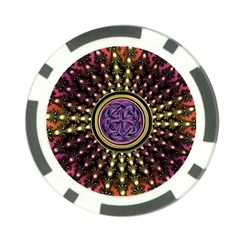 Hot Radiant Fractal Celtic Knot Poker Chip Card Guard (10 pack)