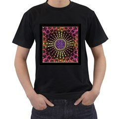 Hot Radiant Fractal Celtic Knot Men s T-Shirt (Black)