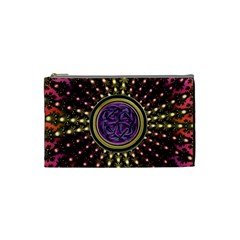 Hot Radiant Fractal Celtic Knot Cosmetic Bag (Small)