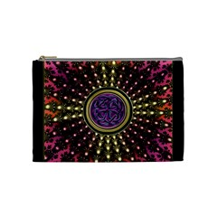 Hot Radiant Fractal Celtic Knot Cosmetic Bag (medium)