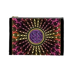 Hot Radiant Fractal Celtic Knot Cosmetic Bag (large)