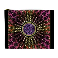 Hot Radiant Fractal Celtic Knot Cosmetic Bag (XL)