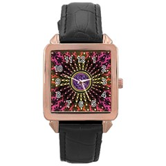 Urock Musicians Twisted Rainbow Notes  Rose Gold Leather Watch
