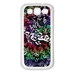 Urock Musicians Twisted Rainbow Notes  Samsung Galaxy S3 Back Case (White)