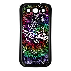 Urock Musicians Twisted Rainbow Notes  Samsung Galaxy S3 Back Case (Black)