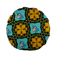 Orange Unicorn 15  Premium Round Cushion
