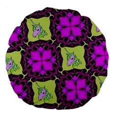 Pink Unicorn 18  Premium Round Cushion