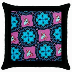 Aqua Unicorn Black Throw Pillow Case