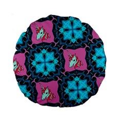 Aqua Unicorn 15  Premium Round Cushion