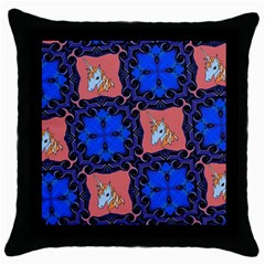 Blue Unicorn Black Throw Pillow Case
