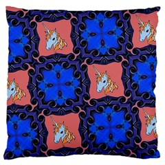 Blue Unicorn Large Cushion Case (Single Sided)