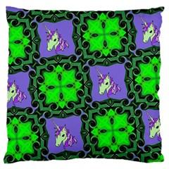 Green Unicorn Large Cushion Case (Two Sided)