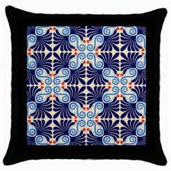 Curly blue Black Throw Pillow Case