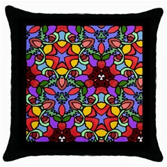 Bright Colors Black Throw Pillow Case