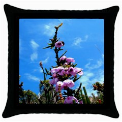 Pink Flower Black Throw Pillow Case