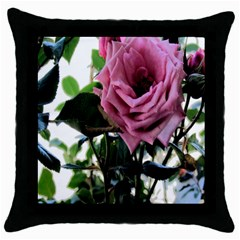 Rose Black Throw Pillow Case