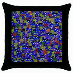 Houses Black Throw Pillow Case