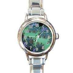 Celtic Symbolic Fractal Design in Green Round Italian Charm Watch