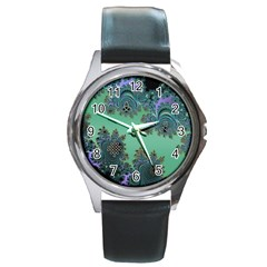 Celtic Symbolic Fractal Design in Green Round Leather Watch (Silver Rim)