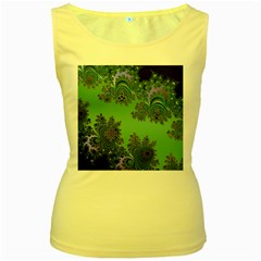Celtic Symbolic Fractal Design in Green Women s Tank Top (Yellow)