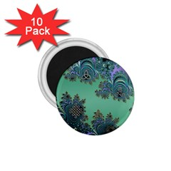 Celtic Symbolic Fractal Design In Green 1 75  Button Magnet (10 Pack)