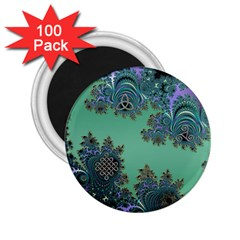 Celtic Symbolic Fractal Design In Green 2 25  Button Magnet (100 Pack)
