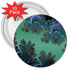 Celtic Symbolic Fractal Design In Green 3  Button (10 Pack)