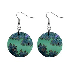 Celtic Symbolic Fractal Design In Green Mini Button Earrings