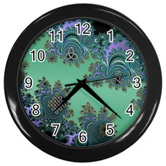 Celtic Symbolic Fractal Design in Green Wall Clock (Black)