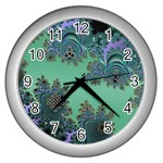 Celtic Symbolic Fractal Design in Green Wall Clock (Silver) Front