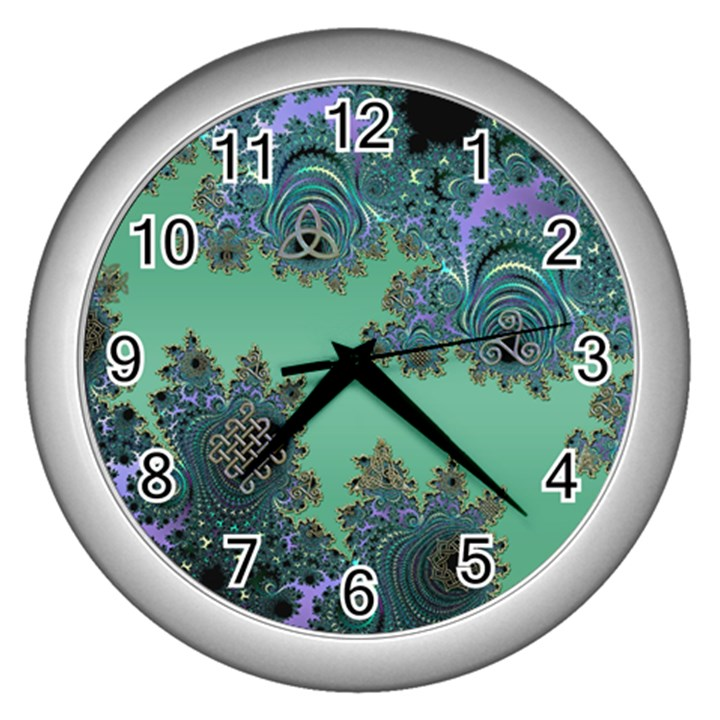 Celtic Symbolic Fractal Design in Green Wall Clock (Silver)