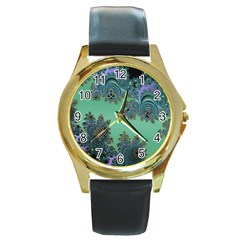 Celtic Symbolic Fractal Design in Green Round Leather Watch (Gold Rim)