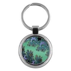 Celtic Symbolic Fractal Design In Green Key Chain (round)