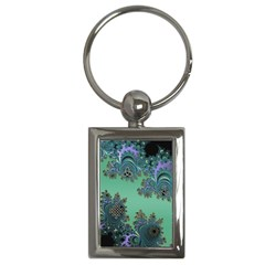 Celtic Symbolic Fractal Design in Green Key Chain (Rectangle)
