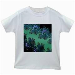 Celtic Symbolic Fractal Design In Green Kids T Shirt (white)
