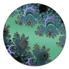Celtic Symbolic Fractal Design in Green Magnet 5  (Round)