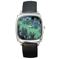 Celtic Symbolic Fractal Design in Green Square Leather Watch