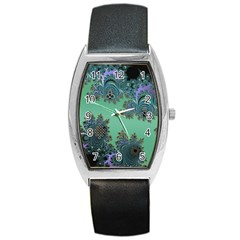 Celtic Symbolic Fractal Design in Green Tonneau Leather Watch
