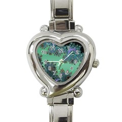 Celtic Symbolic Fractal Design In Green Heart Italian Charm Watch